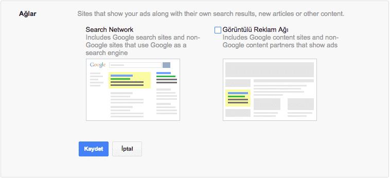 google-ads-ilk-kampanya-ag-secenekleri