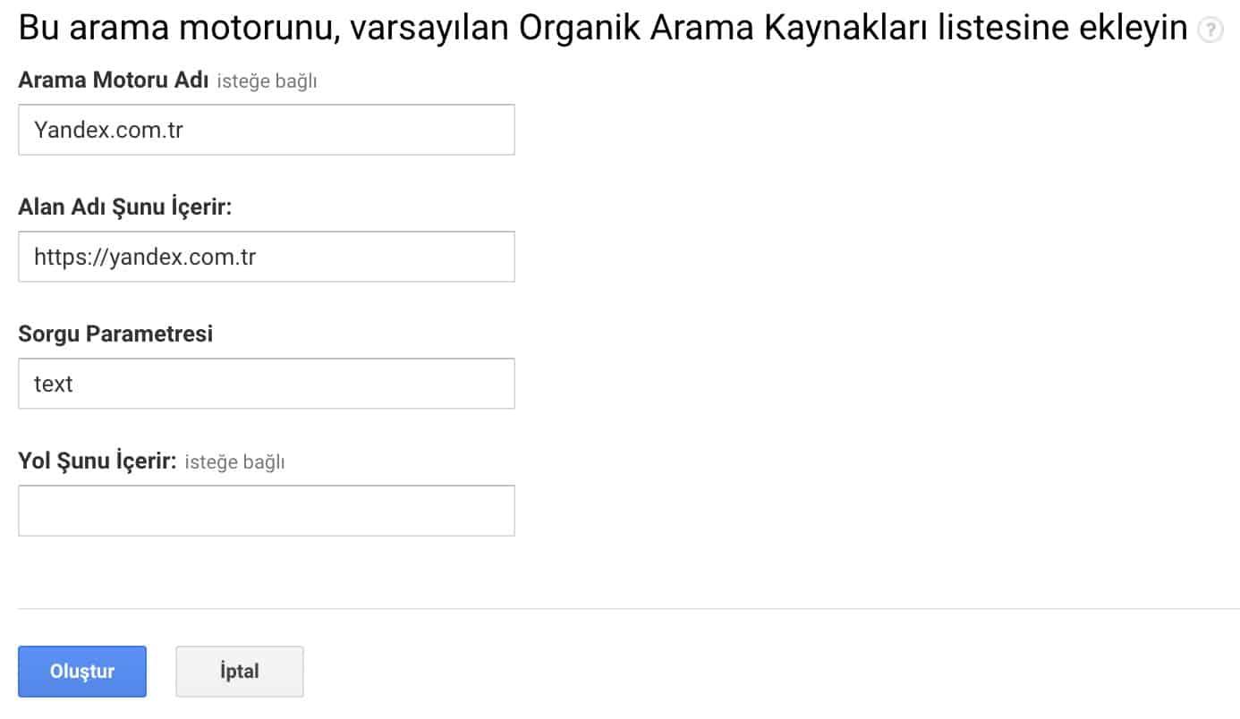 yandex.com.tr organik arama kaynagi ekleme